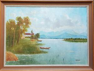 Schönes Ölgemälde Georg Ebner Komponist aus Bernau 50 x 70 cm. Fraueninsel Sig.
