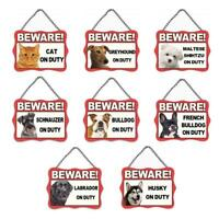 Dog Cat Metal Sign Beware of Dogs Guard Dog on Duty Warning Gate & Home Signs