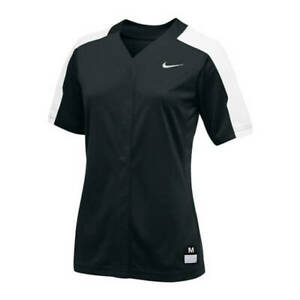Nike Stock Vapor Pro Full Button Softball Game Jersey Women M L XL Black 881248