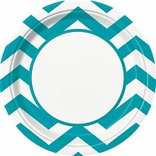 """8 Caribbean Teal Blue White Chevron ZigZag Birthday Party Large 9"""" Paper Plates"""
