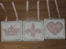 LAMBS & IVY DUCHESS 3 SOFT WALL HANGINGS WHITE PINK HEART CROWN