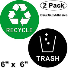 "(2 Pack) 6"" X 6"" RECYCLE & TRASH Back Self Adhesive Vinyl Decal Sticker For Cans"