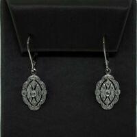 14K White Gold Over .50 ctw Diamond Filigree Vintage Design Drop Dangle Earrings