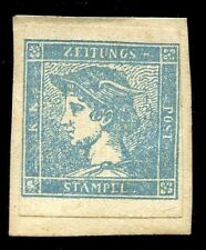 Austria Empire 1851 0.6k blue newpaper stamp RIBBED paper UNUSED on piece