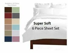 6 Piece Premium Quality Deep Pocket Bamboo Luxury Series Soft Bed Sheet Set