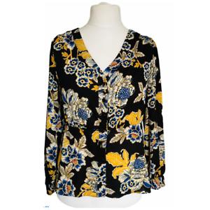 Joe Browns Shirt Blouse Size 10 Black Blue Gold Floral Chiffon Voile Collarless