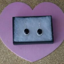Beautiful Earrings With Black Sapphire & Topaz 4.6 Gr.2 Cm Long + Hooks In Box