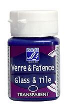 50ml Glass Tile Paint Lefranc & Bourgeois Porcelain Ceramic Art Colours Opaque T Royal Blue (transparent)