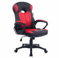 Cherry Tree Racing Gaming Style PU Leather Swivel Office Chair in 2 Colours Red