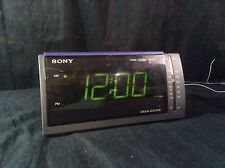 Sony Dream Machine Alarm Clock Radio ICF-411 Black Blue Digital
