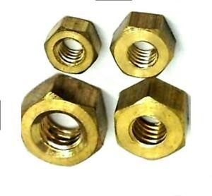 BRASS HEXAGON  FULL NUTS - M3,M4,M5,M6,M8,M10,M12,M16 - Solid Brass - DIN934