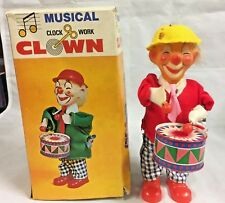 Vintage Musical Clock Work Clown with Drum, Wind Up Key and Box! 1950-60!