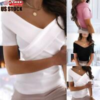 US Sexy Women's Wrap V Neck Short Sleeve T-Shirt Ladies Casual Blouse Tee Top