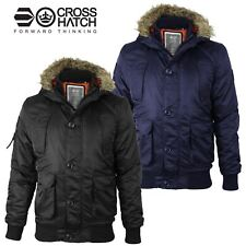Mens Crosshatch MA1 Bomber Faux Fur Hood Diamon Quilted Lined Jacket Parka Coat