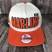 Miami Marlins New Era Team 9FIFTY Snapback M/L Hat - White Orange A-Frame MLB