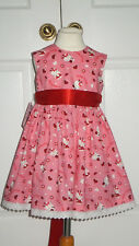 NEW HAND CRAFTED PINK HELLO KITTY SUMMER SUN DRESS 2-3 YEARS ROMANY TRADITIONAL