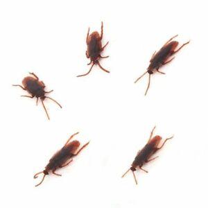 5 x Joke Cockroach Bug Funny Prank Novelty Life Like Fake Plastic Toy Trick UK