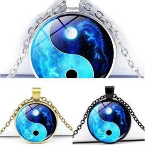 Yin Yang Necklace New Cabochon Silver Blue Chain Glass Dragon Moon Pendant New