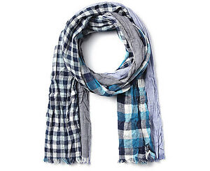 CLRIDE.n Casual Wrinkled Long Scarf Muffler Multi Check Pattern Cotton Blue NWT