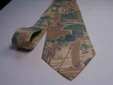 Polo Ralph Lauren silk tie Necktie Rare Golf Golfer Country Club print on Tan