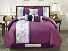 7-Pc Floral Paisley Teardrop Embroidery Comforter Set Purple Black Gray King