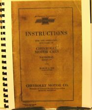 1928 Chevrolet Instruction for Operating & Care Of The National Series A B   FSH