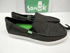 Sanuk Mens Sidewalk Surfers Sideline Jean Slub Black Silver Size 9