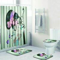 Bathroom Rug Shower Curtain 4pcs Skidproof Toilet Lid Cover Bath Mat Rug Set