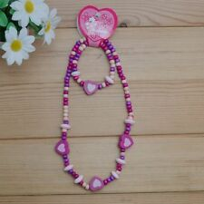 1 Set Cute Girls Pink Heart Wooden Beads Necklace&Bracelet Children Jewelry Set