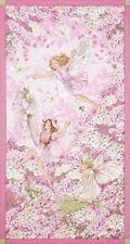 Petal Flowers Fairies Pink Michael Miller Cotton Quilting Fabric Panel