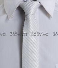 New White Stripe Mens Slim Skinny 100% Woven Silk 5 cm Necktie Wedding Tie