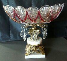 Vtg Crystal Cut Glass Pedestal Candy Dish Fruit Bowl Brass Marble Base & Prisms