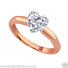 4 Ct Heart Shape Solitaire Engagement Wedding Ring Solid 14K Rose Pink Gold