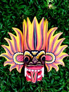 "Original Wooden mask Hand Carved Traditional Fire Mask Handmade Sri Lanka 6"""