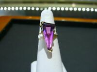 4Ct Triangle Cut Amethyst & Pearl Women's Engagement Ring 14k Yellow Gold Finish