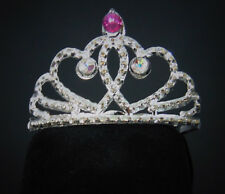 "New Pink Ab Crystal Jeweled Princess Tiara Crown Fits 18"" American Girl Doll"