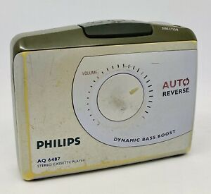 PHILIPS AQ6487 Portable Cassette Player - Tested & Working - Rough Outer Cond