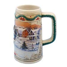 1996 Budweiser Stein Anheuser Bud Holiday Christmas Beer Mug American Homestead