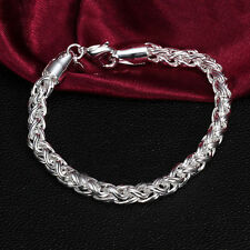 Stylish Women 925 Silver Plated Twisted Rope Bangle Bracelet Chain for Gifts