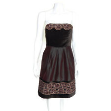 TOCCA Rich Velour Top Embroidred Trim Strapless Dress Pleat Skirt fit & flare 6