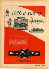 1946 PAPER AD Beton Plastic Toy Soldiers PT 45 Cowboy Bergen Toy & Novelty