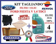 KIT TAGLIANDO FILTRI + OLIO MOTORE REPSOL 5W30 FORD FIESTA V 1.4 TDCI