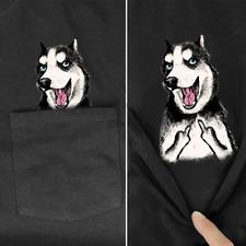 Siberian Husky Middle Finger Funny Pocket T-Shirt Husky Dog Lover Gift Tee