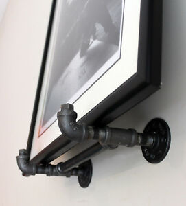 Black Iron Industrial Wall Art Frame Easel for Heavy Large