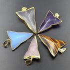 Natural Gemstones Healing Reiki Chakra Triangle Sword Pointed Gold Pendant Beads