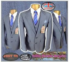 "Bespoke 3 piece mens Blue slim fit suit Ch36"" W30"" L29"" Wool Blend hand tailored"