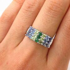 925 Sterling Silver Real Tanzanite Peridot & Emerald Gem 3-Row Ring