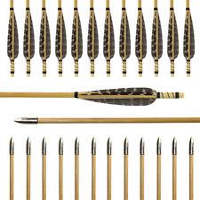 12pcs Wood Arrows True Turkey Feather Practice Field Points Recurve Bow Longbow