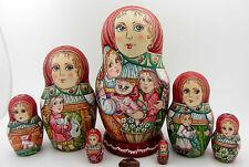 Russian HAND PAINTED nesting dolls BABUSHKA Mama Children Girl Boy 7 Kirichenko