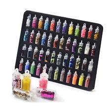 48 Mini Bottles Nail Art Tips Decoration Set Glitter Sequin Paillette Caviar Kit